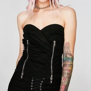 NWT Black Zip Up Tube Top Dolls Kill